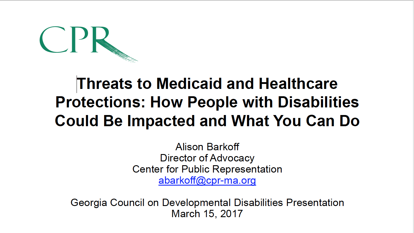 Cover Of Gcdd Webinar Threats To Medicaid And Healthcare Protections: How
