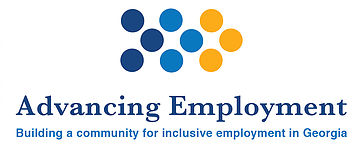 "Advancing Employment Logo with 9 dots in a chevron pattern - 3 dark blue, 3 bright blue, 3 yellow, and underneath in dark blue the words ""Advancing Employment"" and under that in bright blue ""Building a community for inclusive employment in Georgia"""