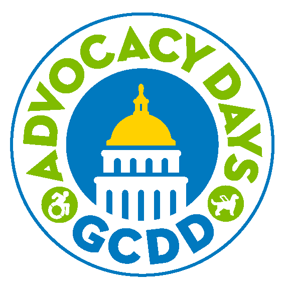 "Advocacy Days logo is a circle with the center a graphic of the capitol with a yellow dome surrounded by the words ""Advocacy Days"" in green at the top and ""GCDD"" in blue at the bottom with 2 green circles, the accessible logo and a service dog"