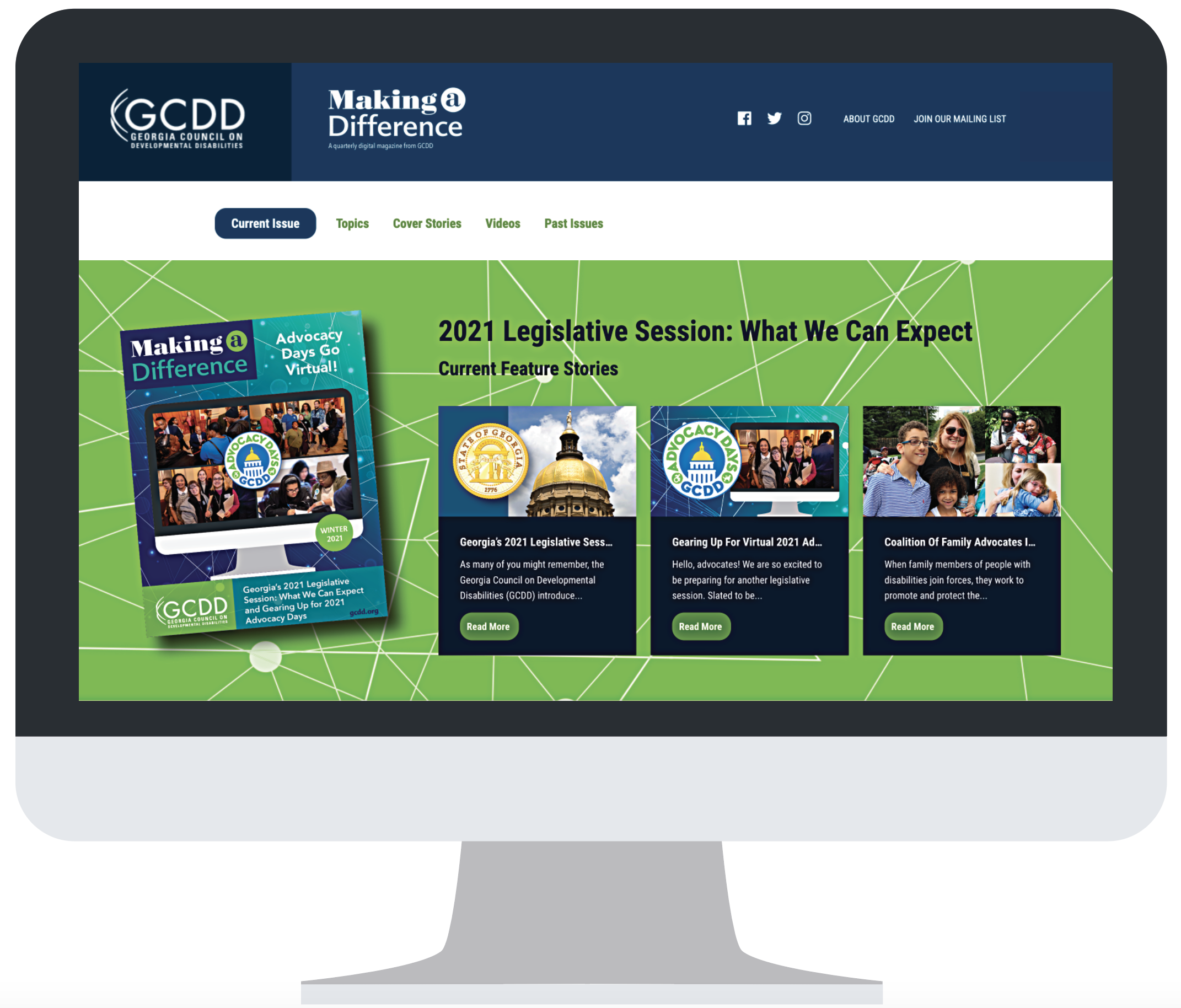 Computer with home page of new Making a Difference website