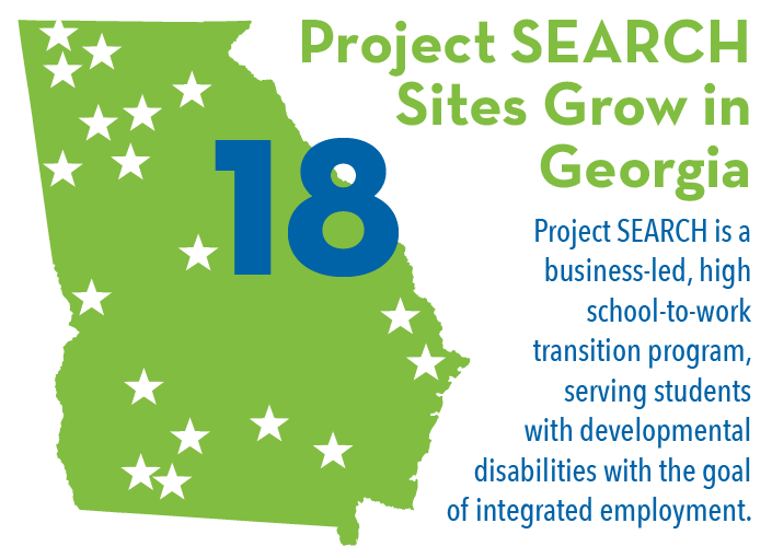 18 Project SEARCH sites grow in Georgia - Project SEARCH is an business-le, high schoo-to-work transition program, serving students with DD with the goal of integrated employment