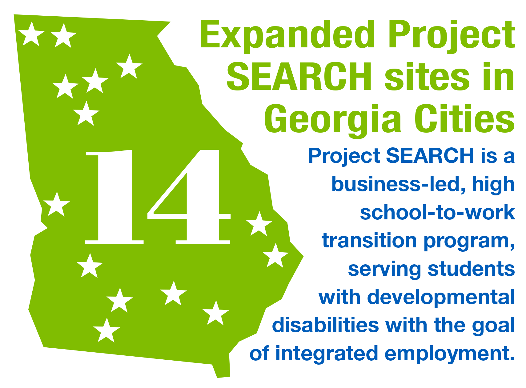 Expanded Project SEARCH sites in 14 Georgia Cities. Project SEARCH is a business-led, high  school-to-work  transition program,  serving students  with developmental  disabilities with the goal  of integrated employment. Click on graphic to more about it.