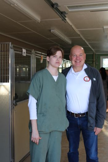 Elizabeth Terzich visited by Sen Mike Dugan