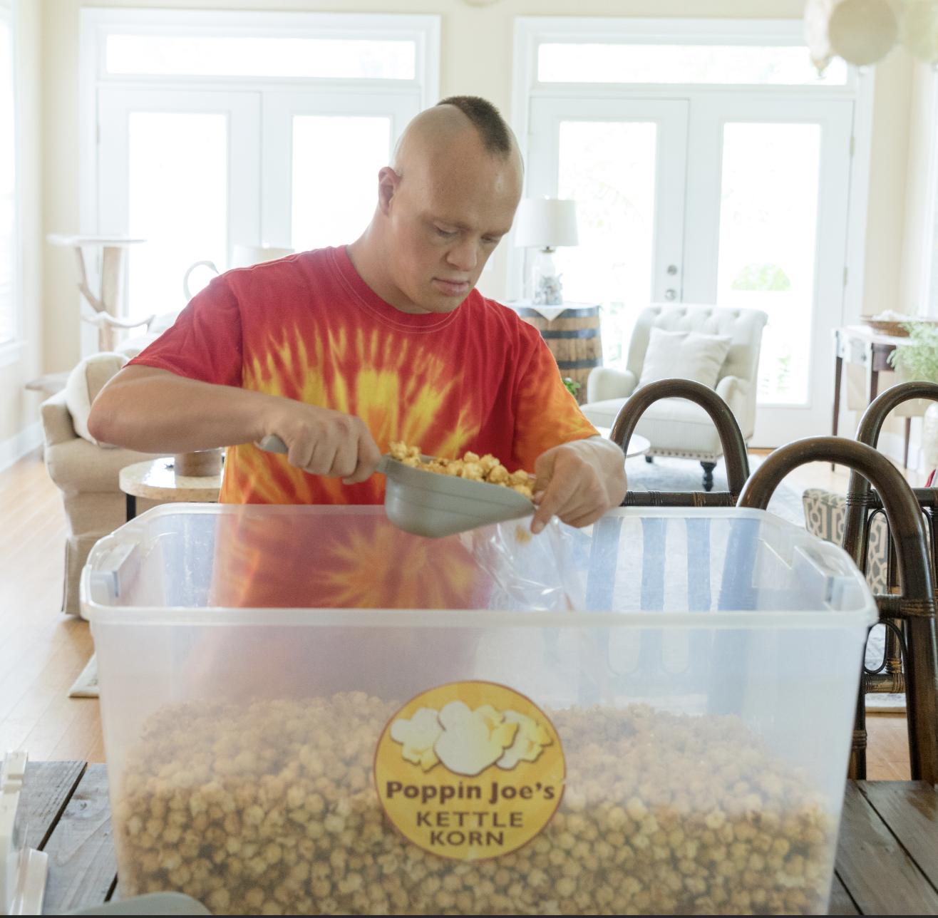 Joe Steffy working in his popcorn business