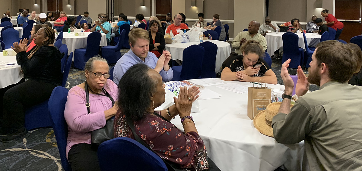 The crowd applauded as NFBGA honored the Georgia Council on Developmental Disabilities (GCDD) at its 2019 state convention in Augusta.