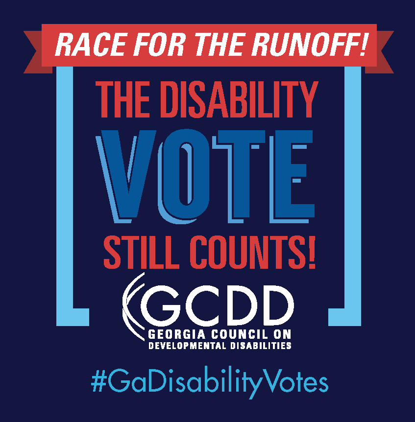 "Red banner with Race for the Runoff! inside above the words ""The Disability Vote Still Counts!"" on a dark blue background"