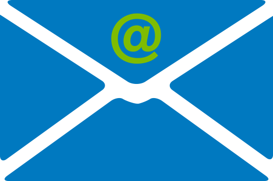 email graphic of blue envelope with @ in center