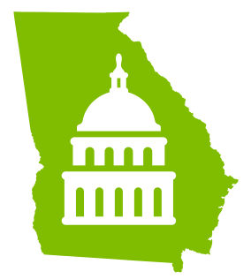 State of Georgia Graphic with Capitol reversed inside