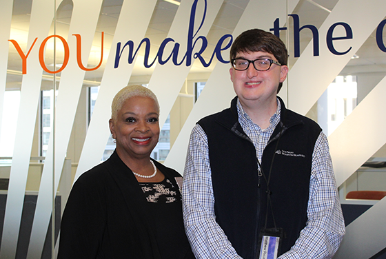 Rep Sheila Jones visits Matthew Roush, Operation Analyst at SunTrust Bank in Atlanta.