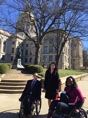Second-year KSU academy student, Charlie Miller; D'Arcy Robb, GCDD Public Policy Consultant; and Yvette Pegues, Advocacy Day attendee.