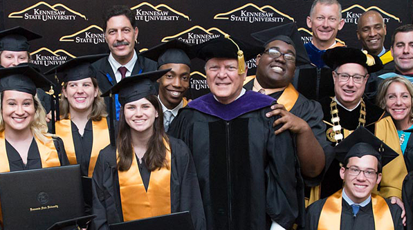 Governor Deal (center) with graduates of the Kennesaw State University Academy of Inclusive Learning & Social Growth.